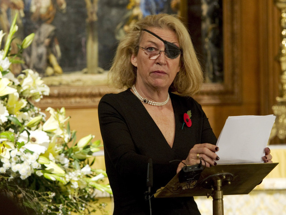 Marie Colvin of <em>The Sunday Times, </em>at a service for fallen journalists in 2010.