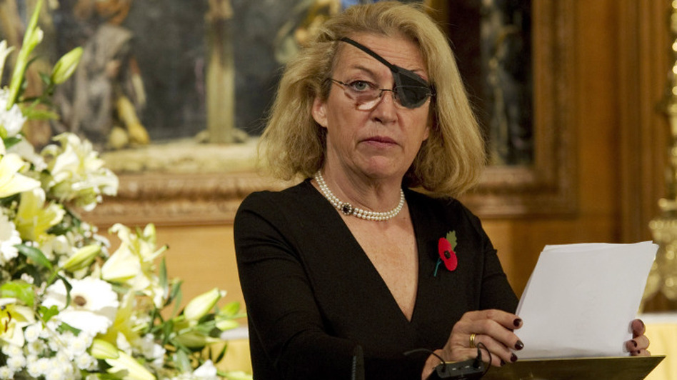 Marie Colvin of The Sunday Times, at a service for fallen journalists in 2010. (WPA pool/Getty Images)