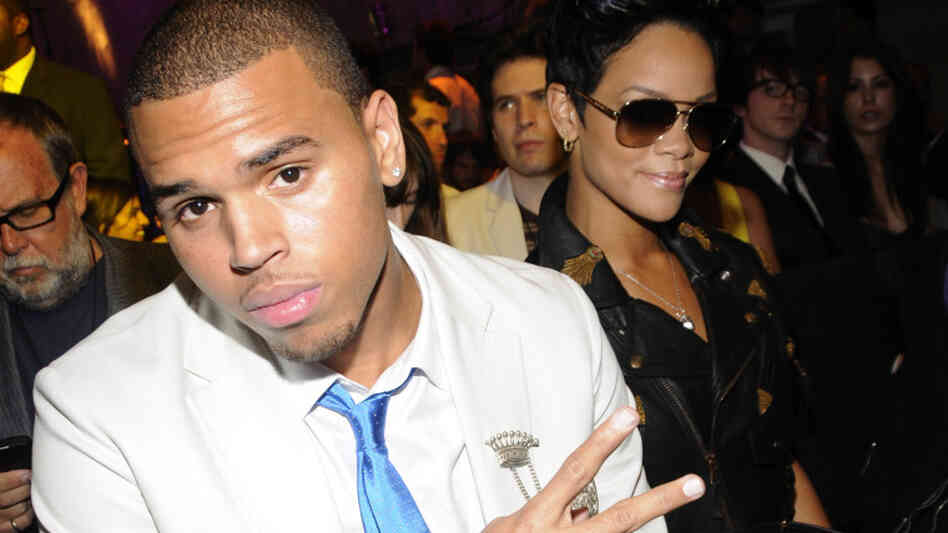 Chris Brown and Rihanna in the audience at the 2008 MTV Video Music Awards in Los Angeles.