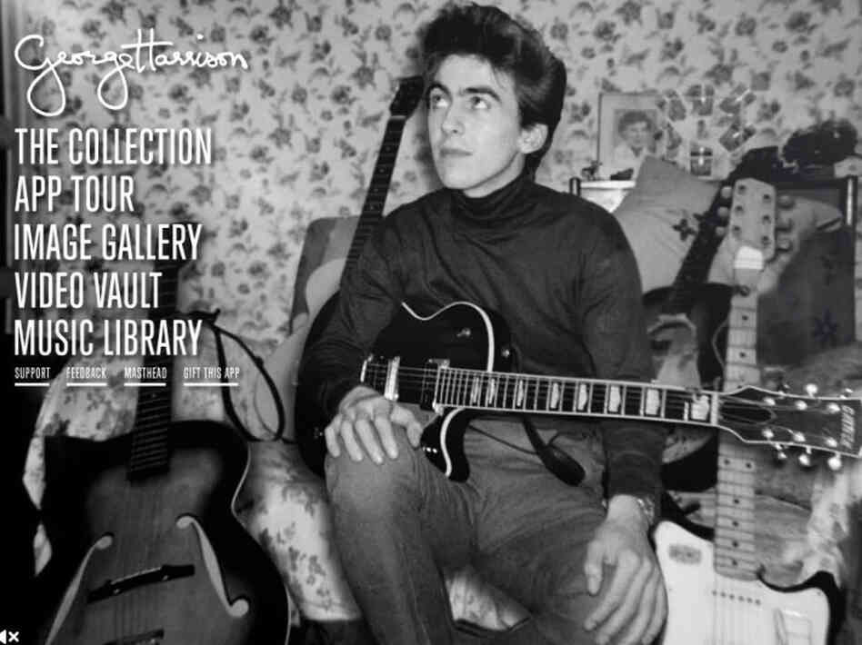 A young George Harrison and his many guitars.
