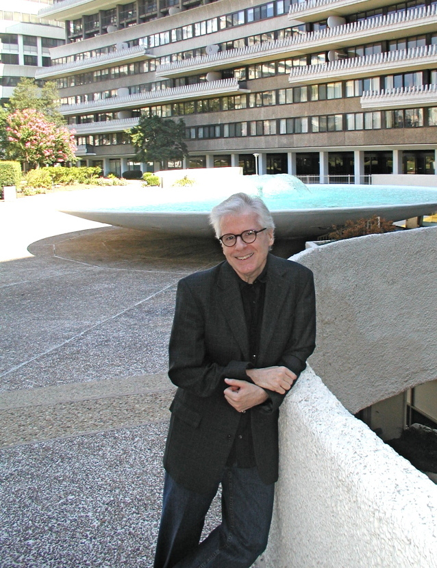 Author Thomas Mallon stands outside the Watergate complex in Washington, D.C.