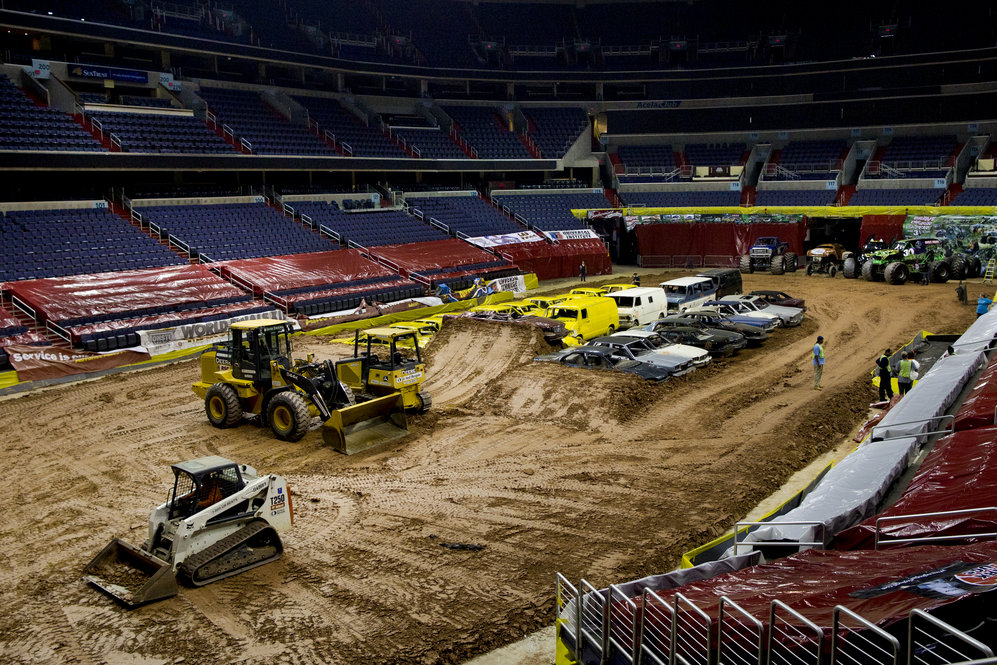 The Monster Jam tour begins in the late winter each year and ends in March -- visiting major cities in the U.S., Canada and Europe. The large venues that host these events, such as Washington, D.C.'s Verizon Center arena featured in this photo, begin their preparations for the show almost three weeks before the night of the event.