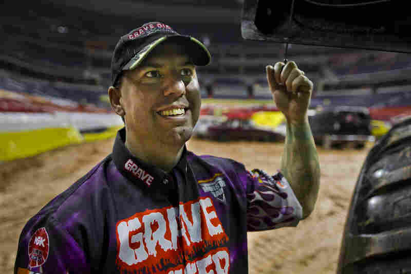 """Rod Schmidt, the current driver of the Grave Digger #18 truck, has been driving for the team for more than a decade and says it's """"the greatest job ever."""""""