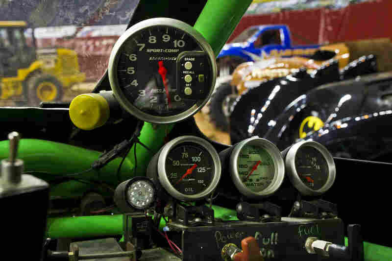 Every Monster truck is equipped with three safety shut offs. As seen from the front seat, the driver has one on the inside of the truck; another is clearly marked on the rear of the truck; and an official holds a remote kill switch in case the safety of onlookers is compromised.