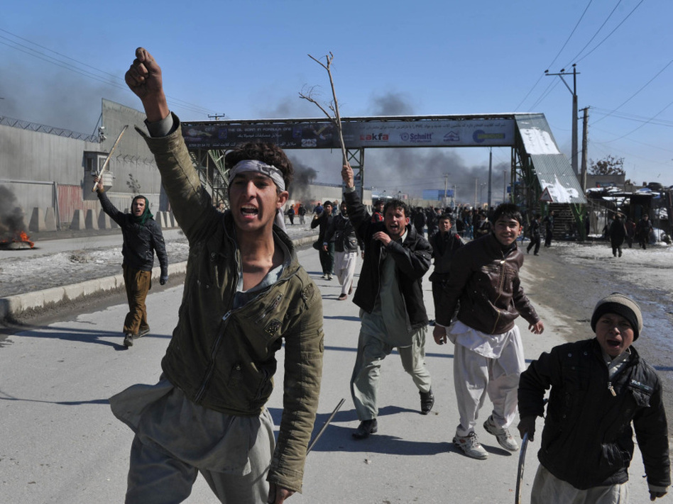 In Kabul today, demonstrators shouted anti-American slogans.