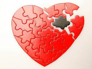 A broken heart puzzle.