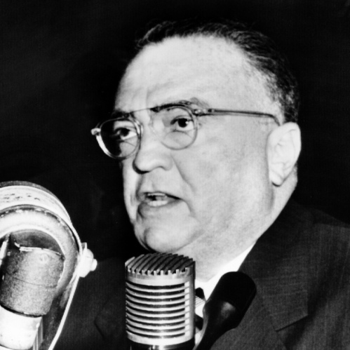 Promo Image. John Edgar Hoover, Director of the Federal Bureau of Investigation, gives a speech during a testimony before the senate internal security committee, on Nov. 17, 1953, in Washington.