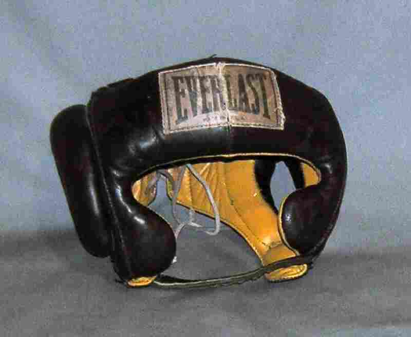 "Cassius Clay's Head ProtectorThis is an Everlast head protector from the 5th Street Gym in Miami, where Clay trained for his first fight with Sonny Liston. ""As soon as he defeated Sonny Liston, he announced that he became a member of the Nation of Islam, became Muhammad Ali,"" Bunch says."