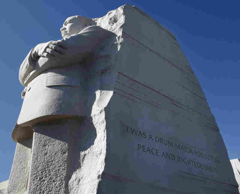 """The quote was carved into the side of the statue — """"I was a drum major for justice, peace and righteousness"""" — was truncated to accommodate space limitations. Maya Angelou said the abbreviation made King sound like """"an arrogant twit."""""""