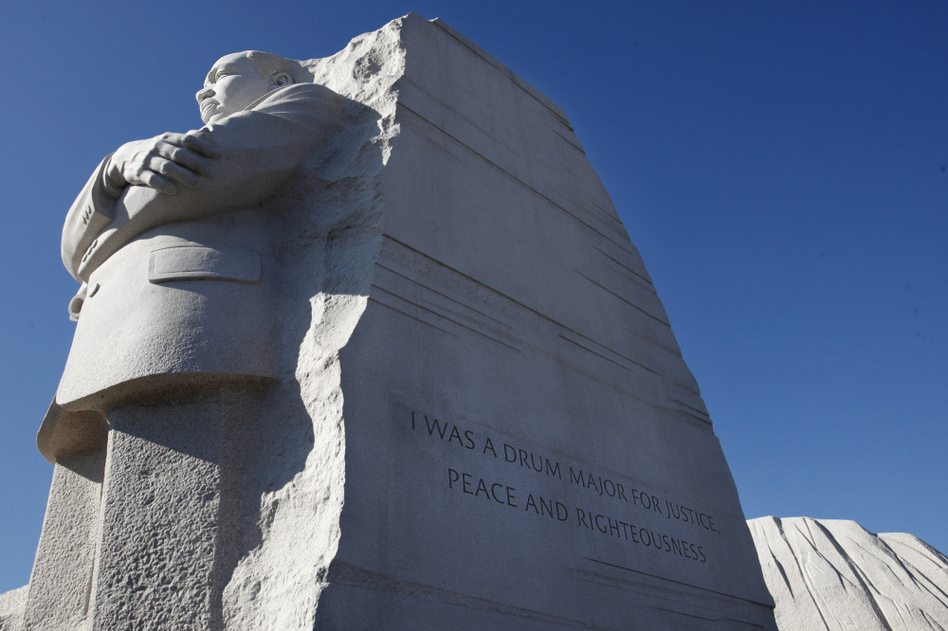 "The quote was carved into the side of the statue — ""I was a drum major for justice, peace and righteousness"" — was truncated to accommodate space limitations. Maya Angelou said the abbreviation made King sound like ""an arrogant twit."" (AP)"