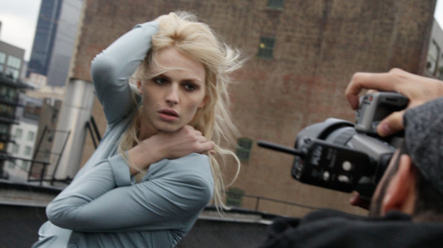 During a recent photo shoot, Andrej Pejic poses on a rooftop in New York City. The 20-year-old has modeled both menswear and women's wear for some of the world's top designers.