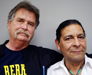 "Veterans Paul Crowley (left) and Anthony Bravo Esparza, known to customers as ""Dreamer,"" offer solace to military personnel returning from overseas duty."