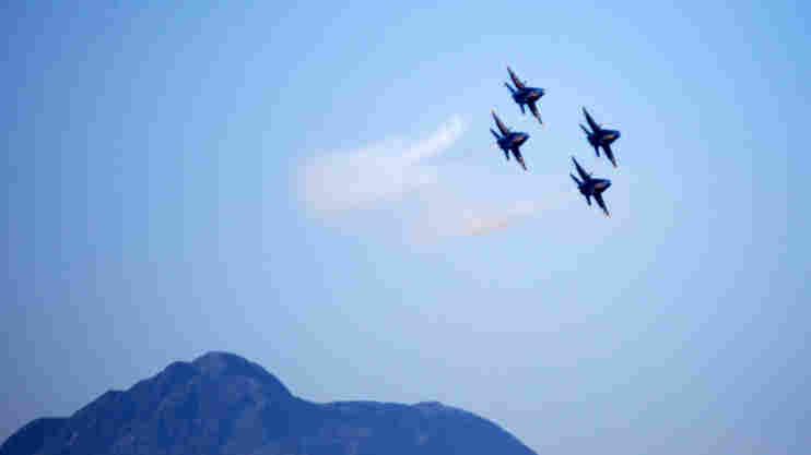 The Blue Angels practice above El Centro, Calif., last week.