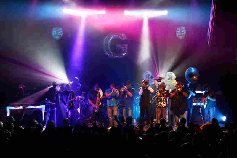 Members of Soul Rebels join Galactic on stage at the 9:30 Club in Washington, D.C. on Feb. 23, 2012.