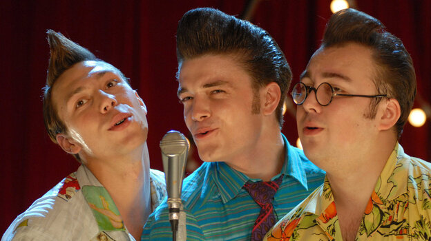 "Dryn (Konstantin Balakirev, left), Fred (Maksim Matveev), and Bob (Igor Voynarovsky) rebel against the cultural norms in the Soviet Union of the '50s, adopting colorful clothing, hairstyles and a mode of living that earned them the derogatory moniker stilyagi, or ""stylish people.&quot"