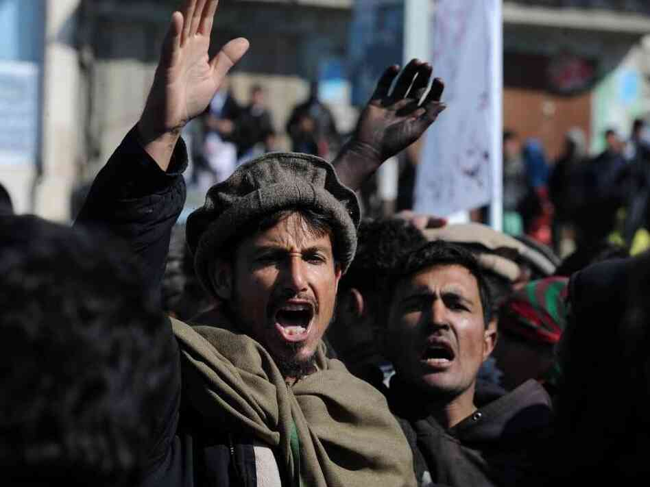 Demonstrators shouted anti-American slogans during a protest in Kabul today (Feb. 23, 2012).