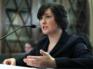 Sandra Fluke, a third-year law student at Georgetown University, testifies Thursday about contraceptives and insurance coverage during a hearing before the House Democratic Steering and Policy Committee.
