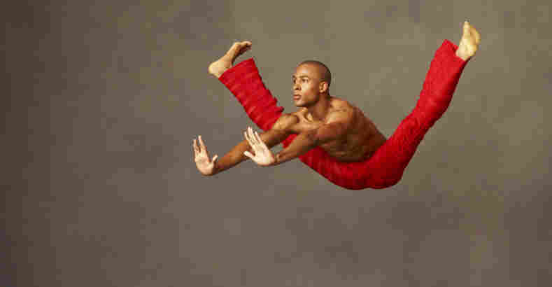 """Yannick Lebrun performs choreography from Robert Battle's Takademe. """"Takademe is near and dear to me as one of my first creations,"""" says Battle, artistic director of the Alvin Ailey American Dance Theater. """"It's a work I made in the tiny living room of my old apartment in Queens."""""""