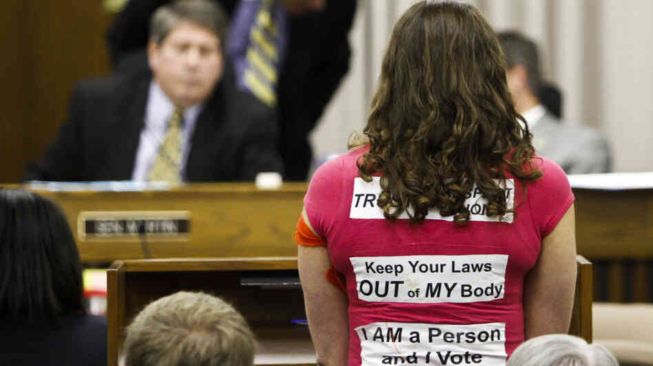 An abortion rights activist speaks before the Virginia Senate Education and Hea