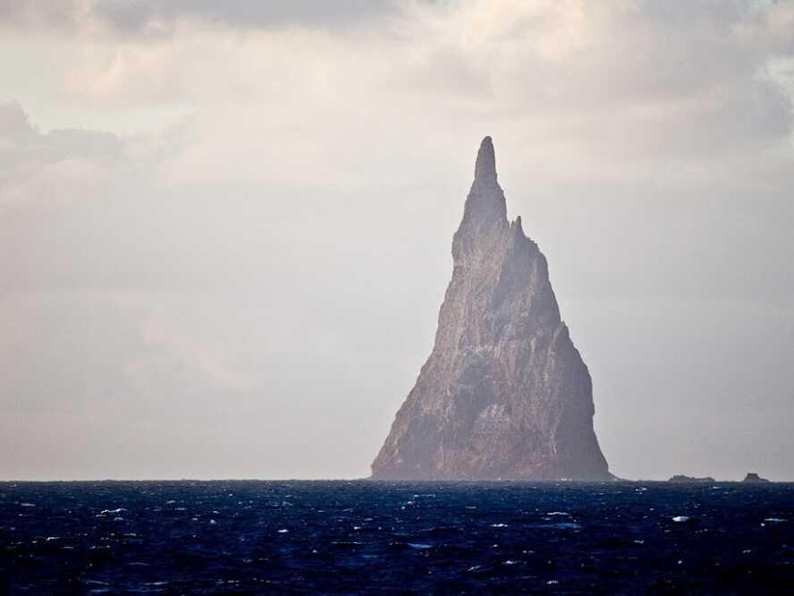Ball's Pyramid in the Tasman sea is located 19 kilometers from Lord Howe Island east of Australia.