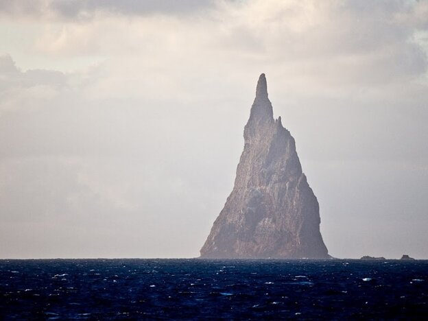 Ball's Pyramid in the Tasman sea is located 19 kilometers from Lord Howe Island east of Australia.