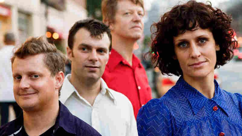Jenny Scheinman, far right, with her Mischief & Mayhem quartet. Left to right: drummer Jim Black, bassist Todd Sickafoose, guitarist Nels Cline.