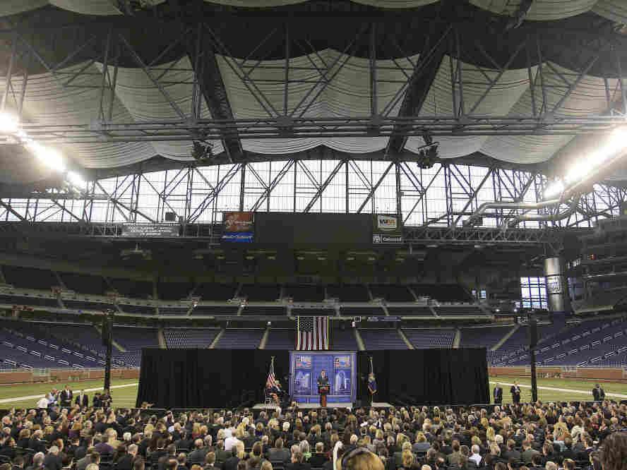 Mitt Romney at Ford Field in Detroit, Friday, Feb. 24, 2012.