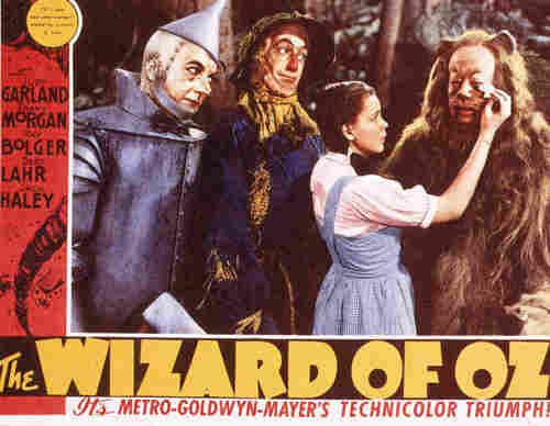 A lobby card from Victor Fleming's 1939 film The Wizard of Oz, starring Judy Garland.