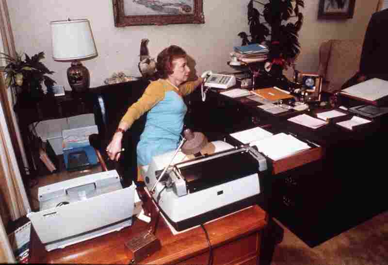 Rose Mary Woods demonstrates the infamous stretch that may have resulted in the erasure of the Watergate tapes.