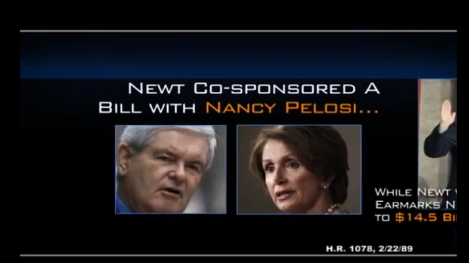 An image from a superPAC ad attacking Newt Gingrich, whose campaign called on TV stations to pull the ad off the air. (Restore Our Future)
