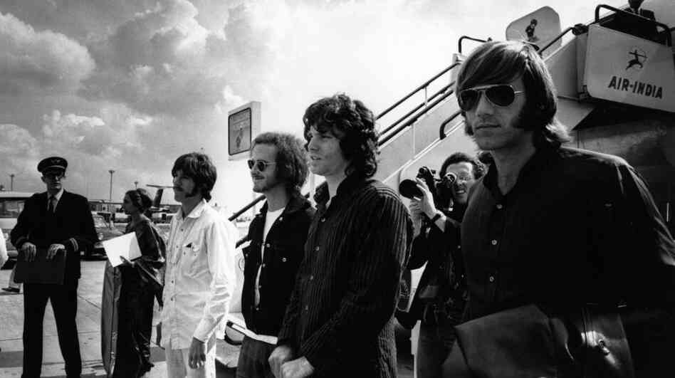The Doors arrive at London Airport in 1968.