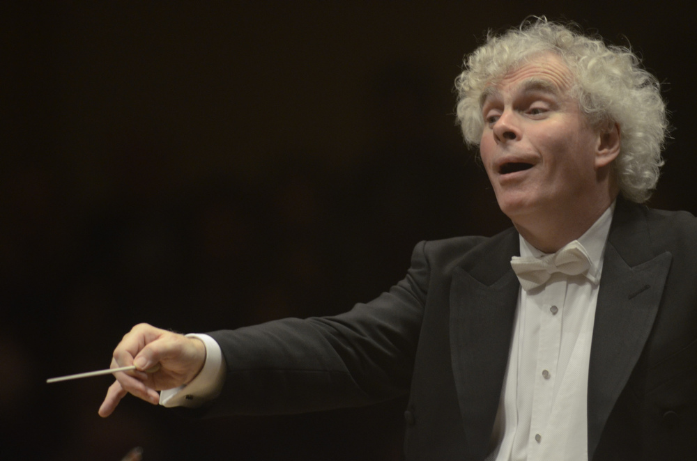 Simon Rattle at the podium -- he conducted the nearly 90-minute symphony entirely from memory.