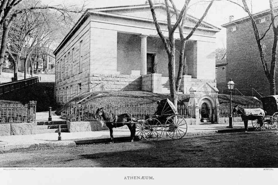 An exterior view shows the Providence Athenaeum library, circa 1880.