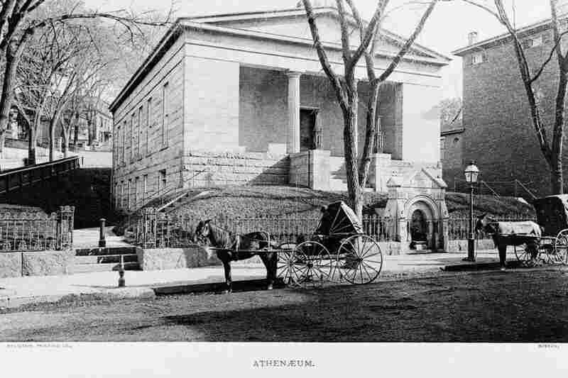 An exterior view shows the Providence Athenaeum library, circa 1880.