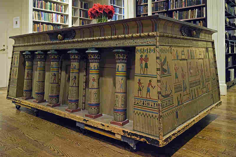 """The Egyptian Cabinet, once used to hold Napoleon's """"Description of Egypt,"""" dominates the downstairs Reading Room."""