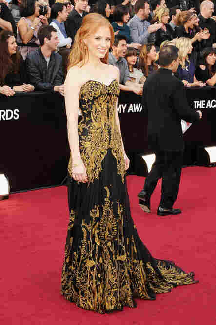 Jessica Chastain, nominated for Best Supporting Actress for her role in The Help, wore Alexander McQueen.
