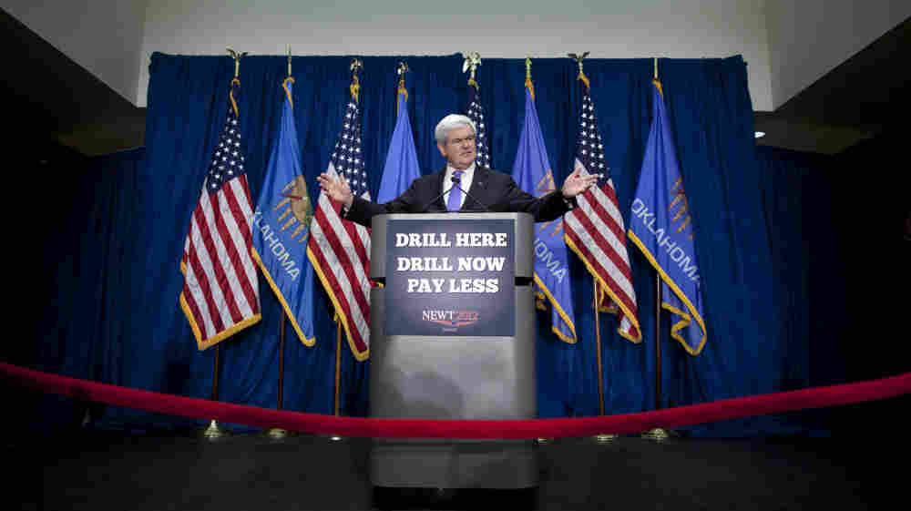 Republican candidate Newt Gingrich is counting on his promise of $2.50-per-gallon gas to return him to front-runner status.
