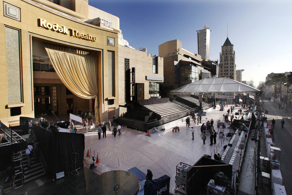 The Kodak Theater, seen early Friday morning, starts taking shape for Sunday evening's red-carpet arrivals in preparation for the 84th Academy Awards held in Los Angeles.