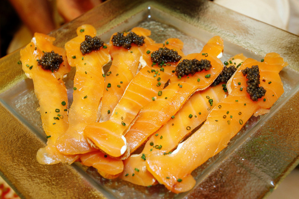 Another of Chef Wolfgang Puck's dishes for the ball: smoked salmon on Oscar flatbread with caviar