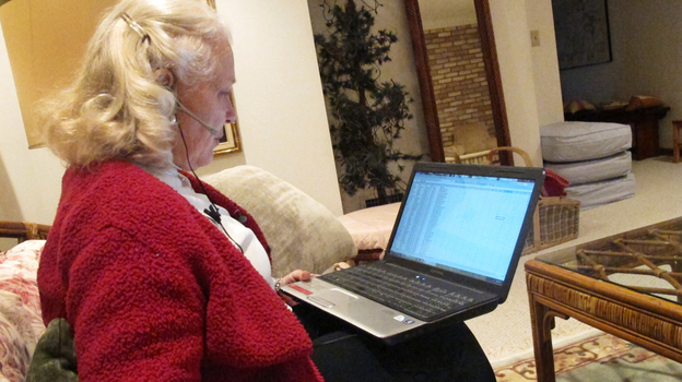 Kay Clymer spends hours each day urging fellow Christians to vote. She finds their phone numbers through a database created by the company United In Purpose. (WOSU)