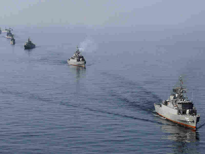 Iranian Navy boats take part in exercises in the Strait of Hormuz this past January. Amid the current tension with the West, Iran has threatened to close the strait, a major export route for oil coming from the Middle East.