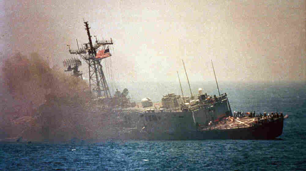 An Iraqi jet fired missiles that hit the USS Stark in the Persian Gulf in 1987, killing 37 U.S. sailors. Iraq and Iran were at war at the time, and the U.S. wanted to keep open the regiion's vital oil shipping lanes. The current friction between the U.S. and Iran has again raised tension in the Gulf.