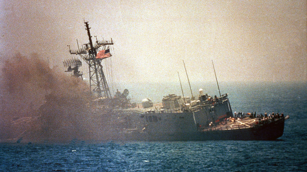 An Iraqi jet fired missiles that hit the USS Stark in the Persian Gulf in 1987, killing 37 U.S. sailors. Iraq and Iran were at war at the time, and the U.S. wanted to keep open the regiion's vital oil shipping lanes. The current friction between the U.S. and Iran has again raised tension in the Gulf.  (AP)