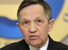 U.S. Rep Dennis Kucinich makes a point during a debate between Democratic candidates for the new 9th District at the City Club in Cleveland Monday, Feb. 20, 2012.
