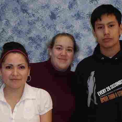 Feather Rae Colombe (from left) appeared in the Lakota student video More Than That. Kim Bos is a video technology teacher who helped produce the video. Student John Whirlwind Soldier directed the video.