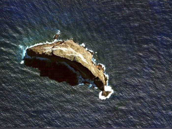 A satellite view of Ball's Pyramid in the Tasman Sea off the eastern coast of Australia.