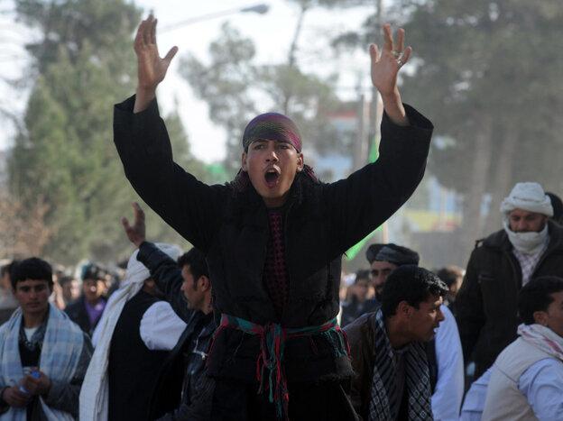 In Herat, Afghanistan, on Friday: Demonstrators shouted anti-American slogans.