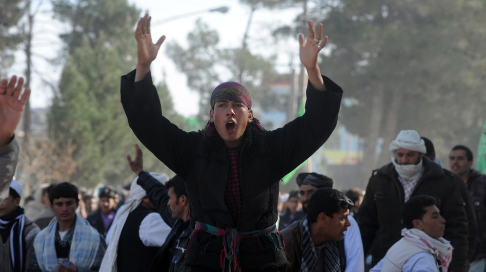 In Herat, Afghanistan, on Friday: Demonstrators shouted anti-American slogans. (AFP/Getty Images)