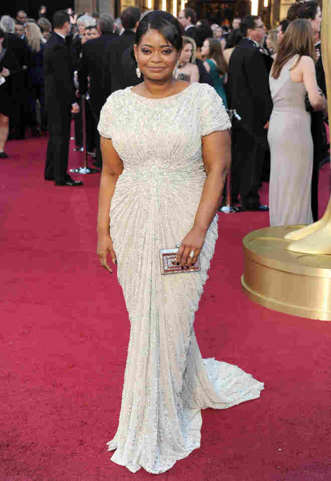 A draped and gathered Octavia Spencer.