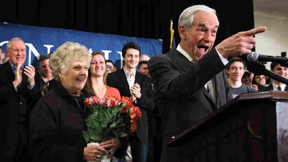 "Republican Presidential candidate Ron Paul celebrates the ""leap day"" birthday of his wife Carol, left, during a rally Tuesday in Springfield, Va."
